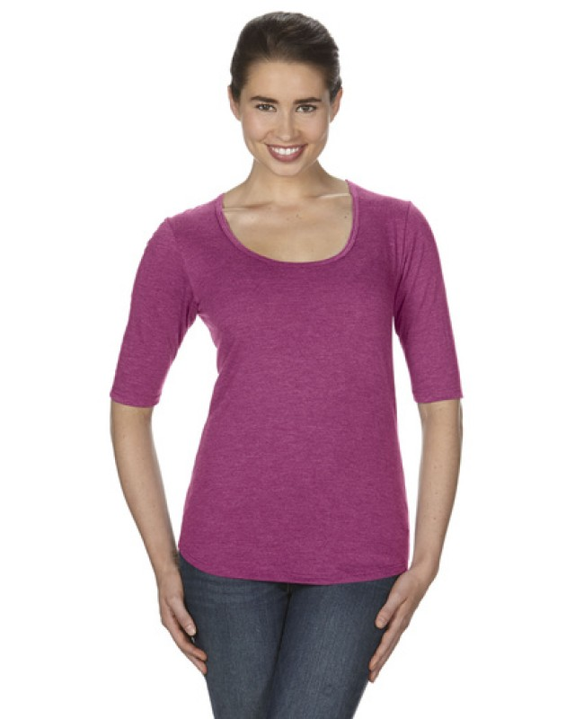 Women`s Tri-Blend Deep Scoop 3/4 Sleeve Tee