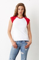Cap Sleeve Contrast Raglan T-Shirt