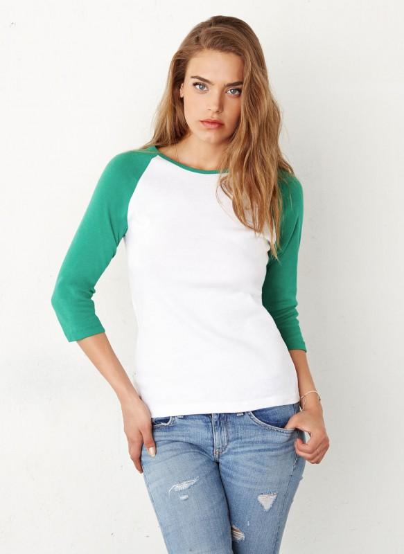 3/4 Sleeve Contrast Raglan T-Shirt