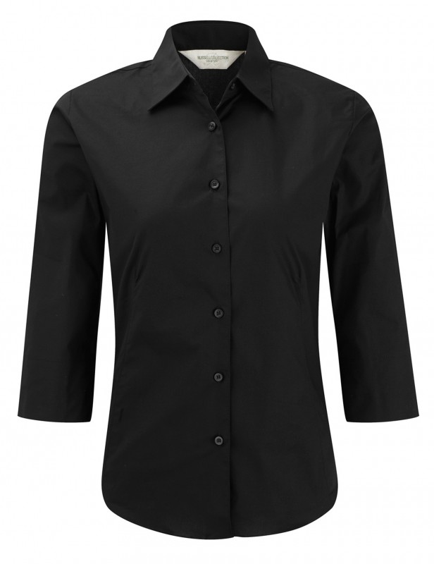 Tailored Blouse with 3/4 Sleeves