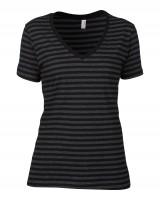 Women`s Fashion Striped V-Neck Tee