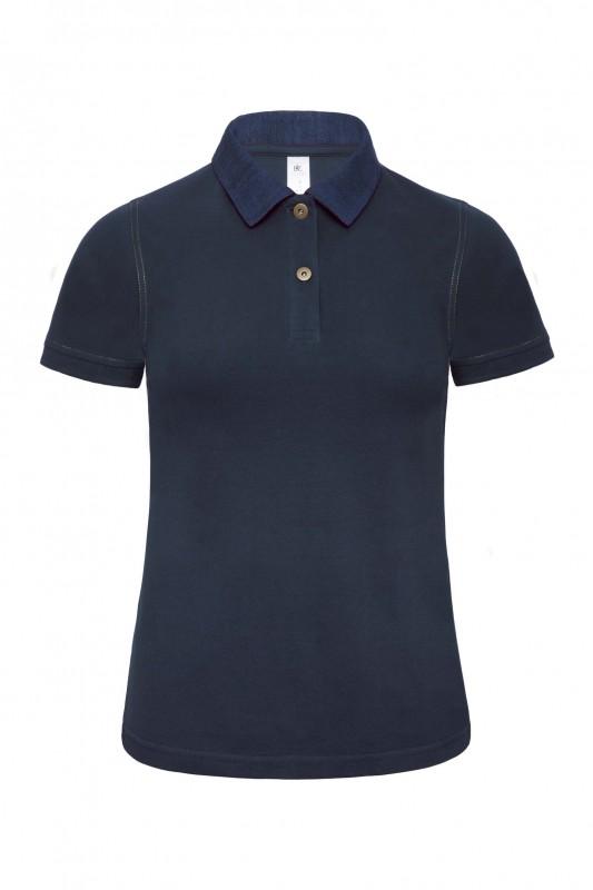 Ladies` Denim Collar Piqué Polo