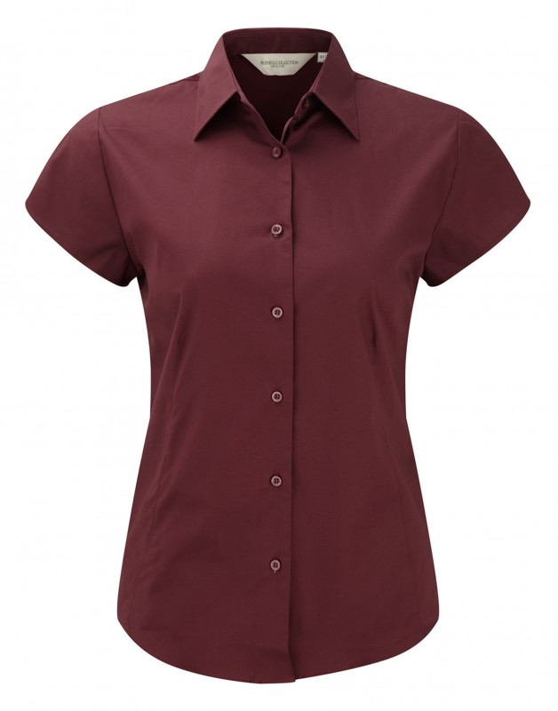 Tailored short-sleeve blouse